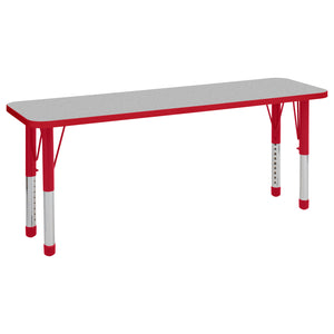 18in x 60in Rectangle Premium Thermo-Fused Adjustable Activity Table Grey/Red/Red - Chunky Leg