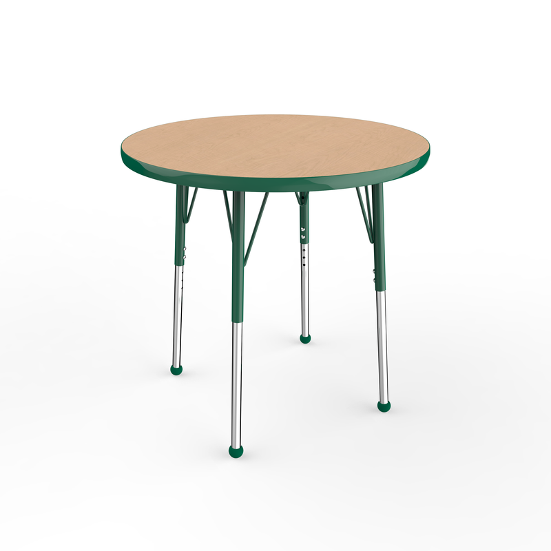 30in Round Premium Thermo-Fused Adjustable Activity Table Maple/Green/Green - Standard Ball