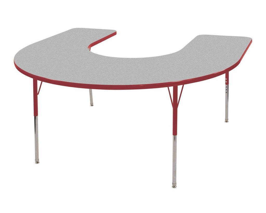 60in x 66in Horseshoe Everyday T-Mold Adjustable Activity Table Grey/Red - Standard Swivel