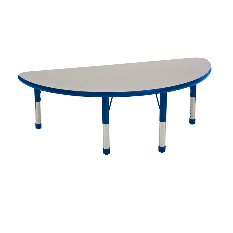 24in x 48in Half Round Premium Thermo-Fused Adjustable Activity Table Grey/Blue/Blue - Chunky Leg