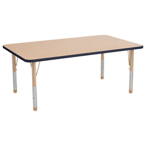 36in x 60in Rectangle Premium Thermo-Fused Adjustable Activity Table Maple/Navy/Sand - Chunky Leg