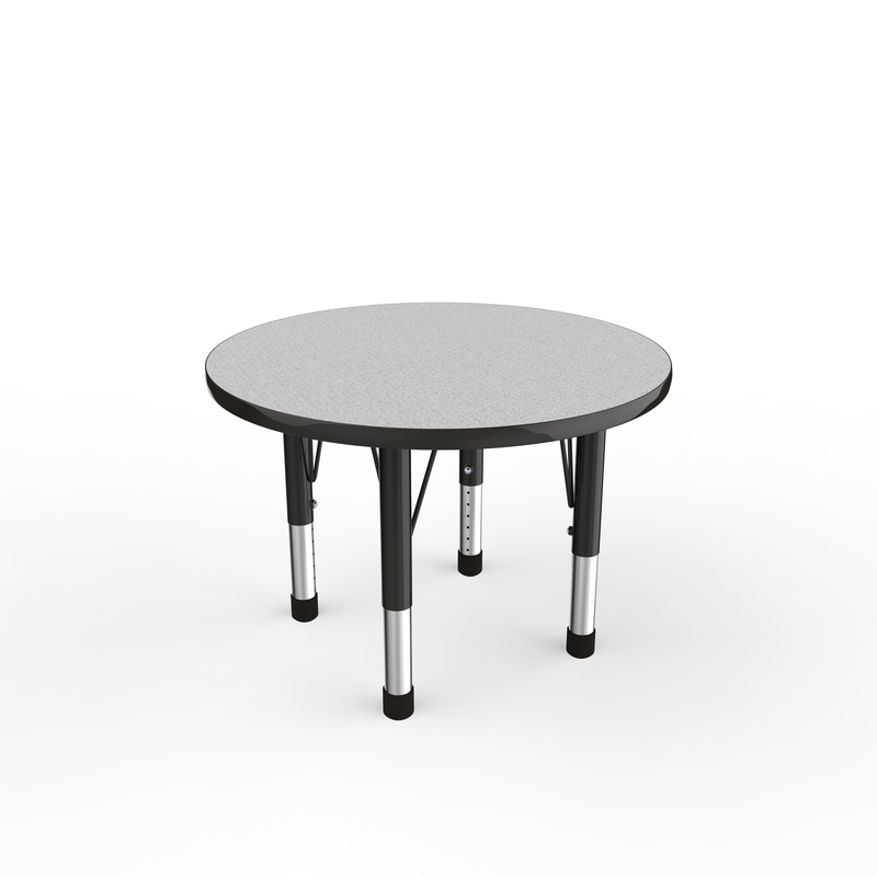 30in Round Premium Thermo-Fused Adjustable Activity Table Grey/Black/Black - Chunky Leg