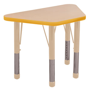 18in x 30in Trapezoid Premium Thermo-Fused Adjustable Activity Table Maple/Yellow/Sand - Chunky Leg