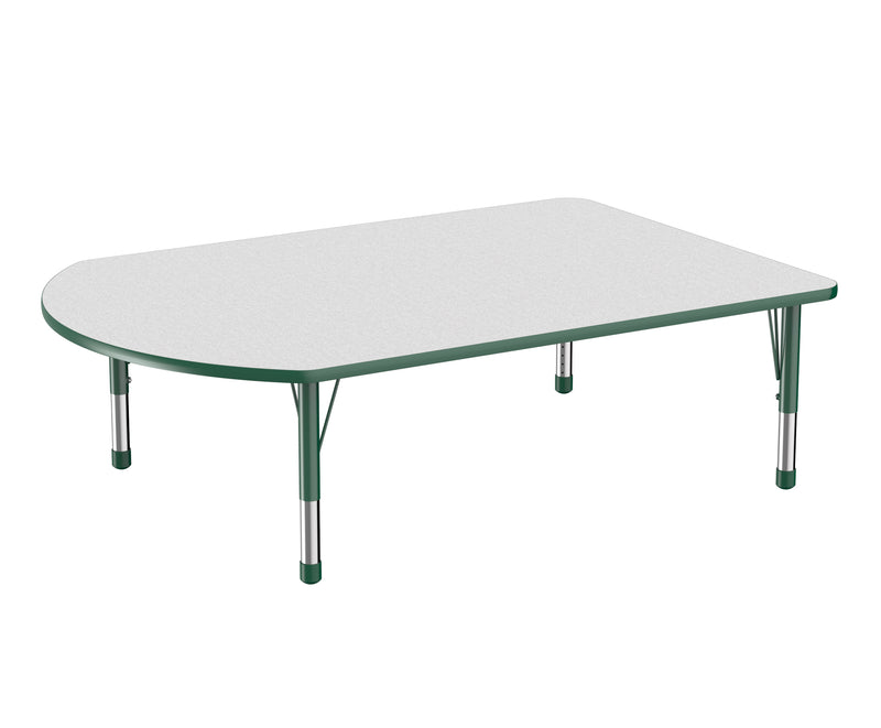 48in x 72in Work Around Premium Thermo-Fused Adjustable Activity Table Grey/Green/Green - Chunky Leg
