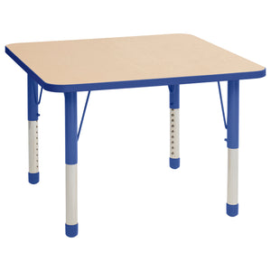 36in x 36in Square Premium Thermo-Fused Adjustable Activity Table Maple/Blue/Blue - Chunky Leg