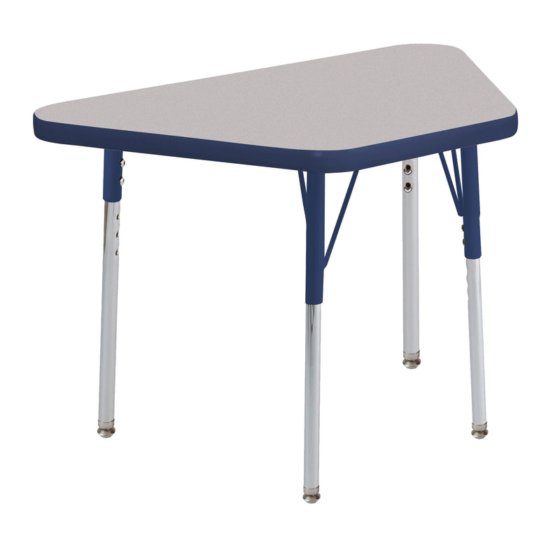 18in x 30in Trapezoid Premium Thermo-Fused Adjustable Activity Table Grey/Navy/Navy - Standard Swivel