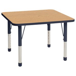 36in x 36in Square Premium Thermo-Fused Adjustable Activity Table Oak/Navy/Navy - Chunky Leg