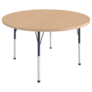 48in Round Premium Thermo-Fused Adjustable Activity Table Maple/Maple/Navy - Standard Ball