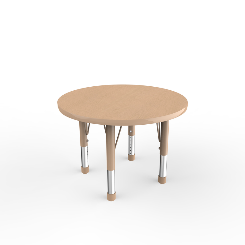 30in Round Premium Thermo-Fused Adjustable Activity Table Maple/Maple/Sand - Chunky Leg