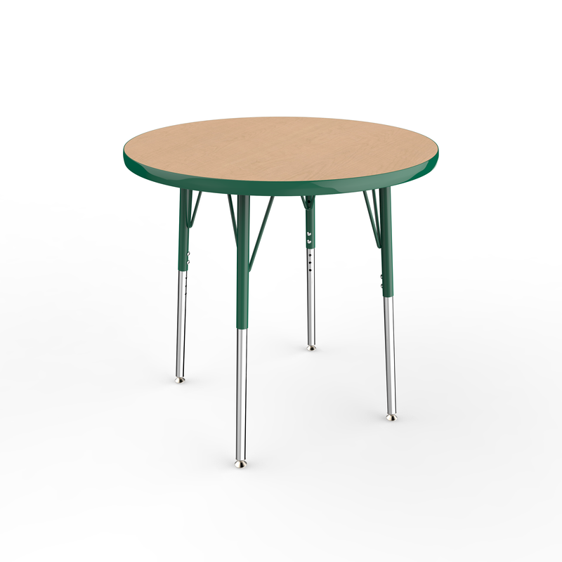 30in Round Premium Thermo-Fused Adjustable Activity Table Maple/Green/Green - Standard Swivel