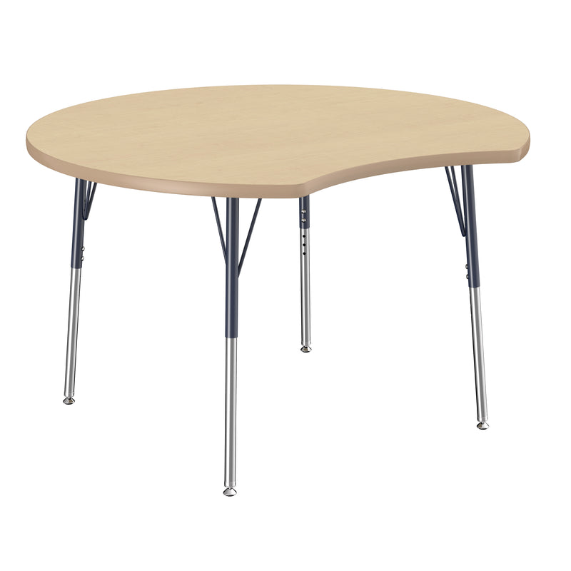 48in Crescent Premium Thermo-Fused Adjustable Activity Table Maple/Maple/Navy - Standard Swivel