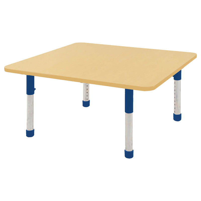 48in x 48in Square Premium Thermo-Fused Adjustable Activity Table Maple/Maple/Blue - Chunky Leg