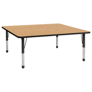 60in x 60in Square Premium Thermo-Fused Adjustable Activity Table Oak/Black/Black - Chunky Leg