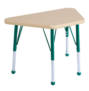 18in x 30in Trapezoid Premium Thermo-Fused Adjustable Activity Table Maple/Maple/Green - Standard Ball