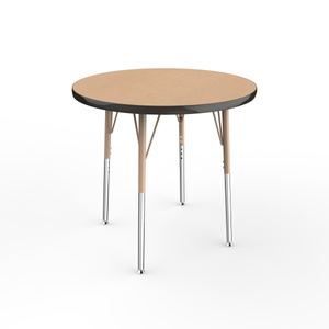 30in Round Premium Thermo-Fused Adjustable Activity Table Maple/Black/Sand - Standard Swivel