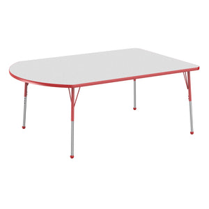 48in x 72in Work Around Premium Thermo-Fused Adjustable Activity Table Grey/Red/Red - Standard Ball