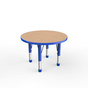 30in Round Premium Thermo-Fused Adjustable Activity Table Maple/Blue/Blue - Chunky Leg