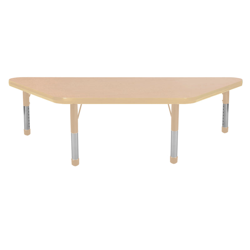 24in x 48in Trapezoid Premium Thermo-Fused Adjustable Activity Table Maple/Maple/Sand - Chunky Leg