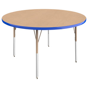 48in Round Premium Thermo-Fused Adjustable Activity Table Maple/Blue/Sand - Standard Swivel