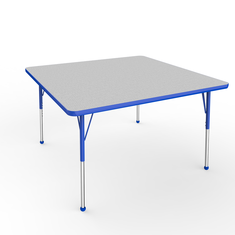 48in x 48in Square Premium Thermo-Fused Adjustable Activity Table Grey/Blue/Blue - Standard Ball