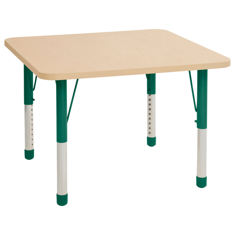 36in x 36in Square Premium Thermo-Fused Adjustable Activity Table Maple/Maple/Green - Chunky Leg