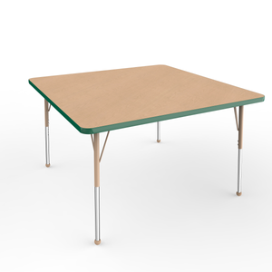 48in x 48in Square Premium Thermo-Fused Adjustable Activity Table Maple/Green/Sand - Standard Ball