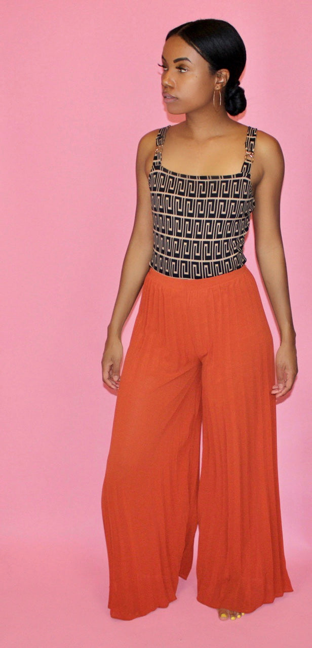 zora - wide leg palazzo pants - black/rust - Addressed Apparel