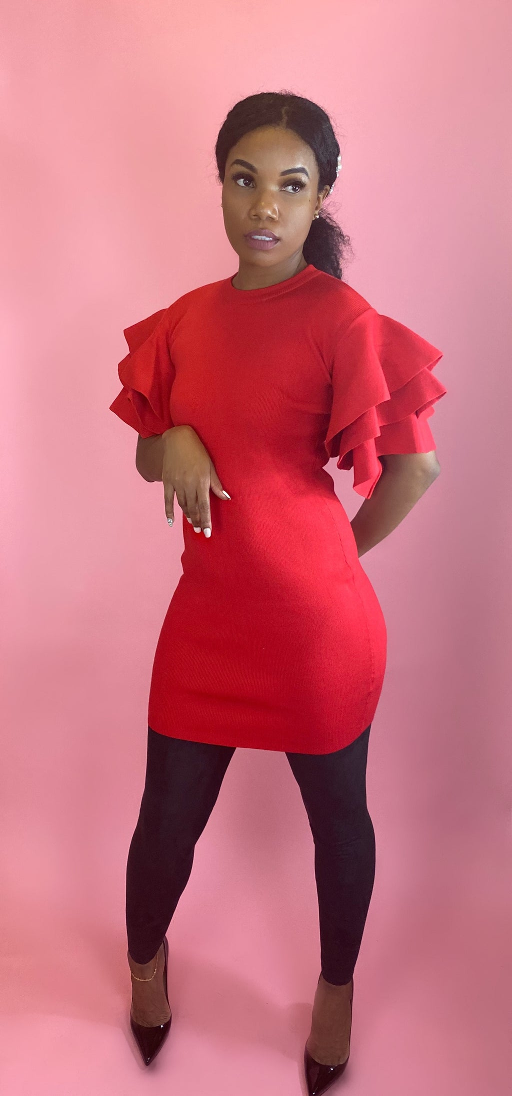 stacked shoulder dress|Red - Addressed Apparel