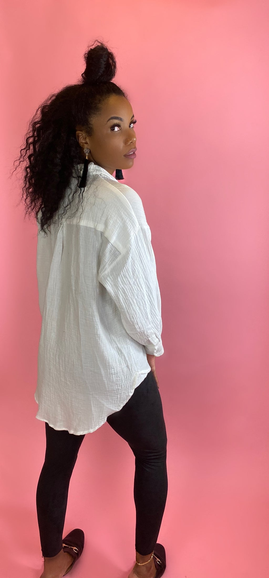 oversized high low hem shirt - Addressed Apparel
