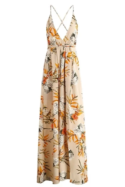 Boho Floral Deep V Criss-Cross Maxi Dress