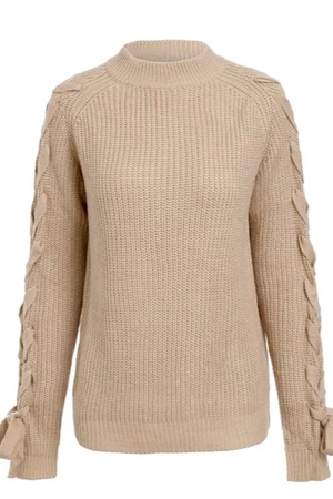 Knitted Lace-Up Sleeve Pullover Sweater