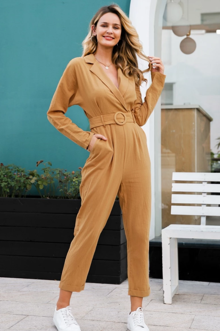 Linen Belted Overalls Jumpsuit