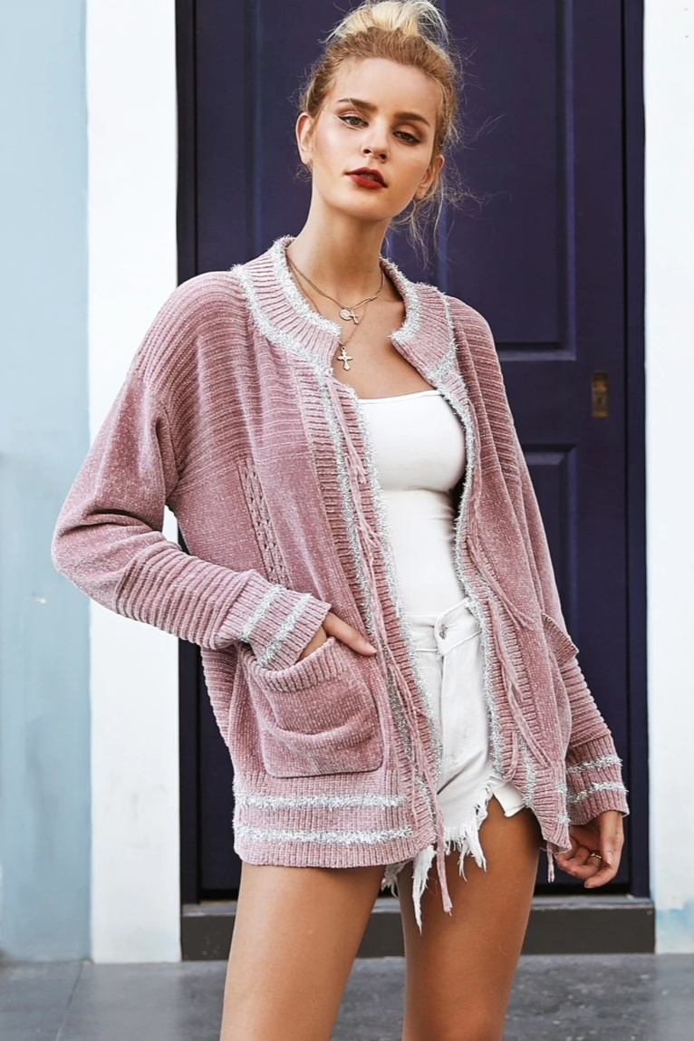 Tassel Fringe Pocket Sweater
