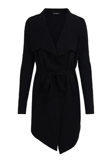 Cardigan Flap Collar Coat