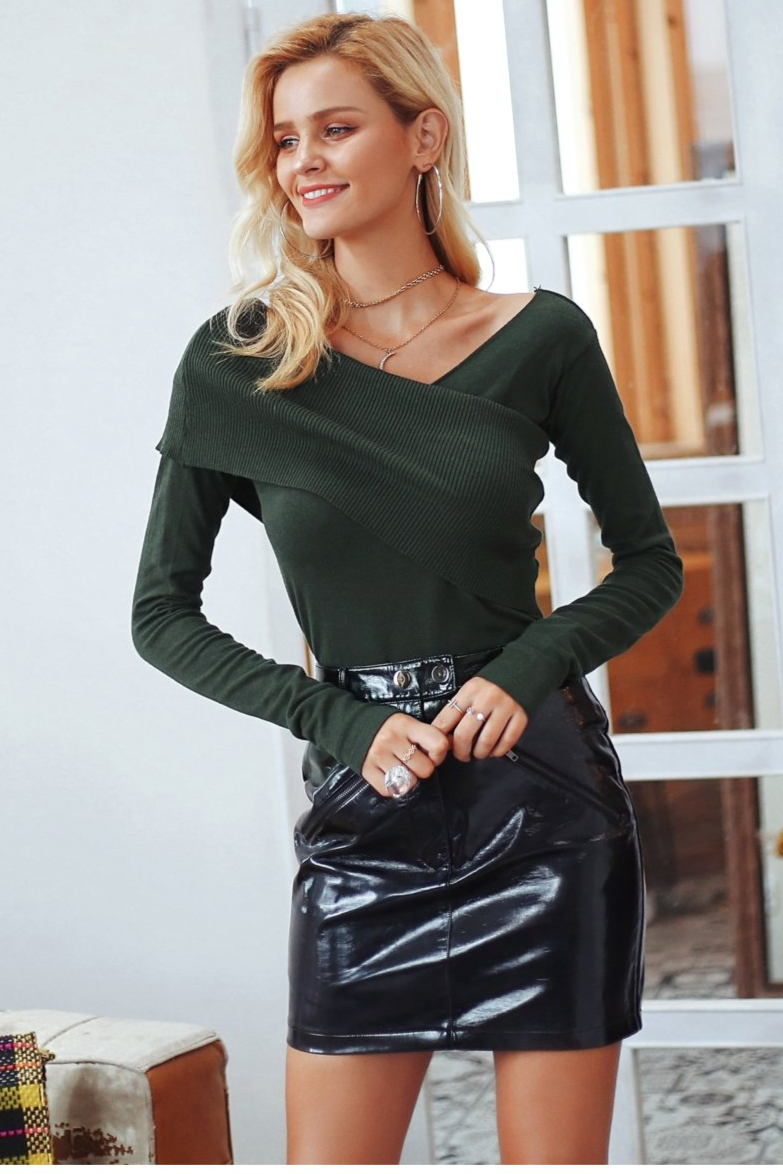 One Shoulder Knitted Layer Top