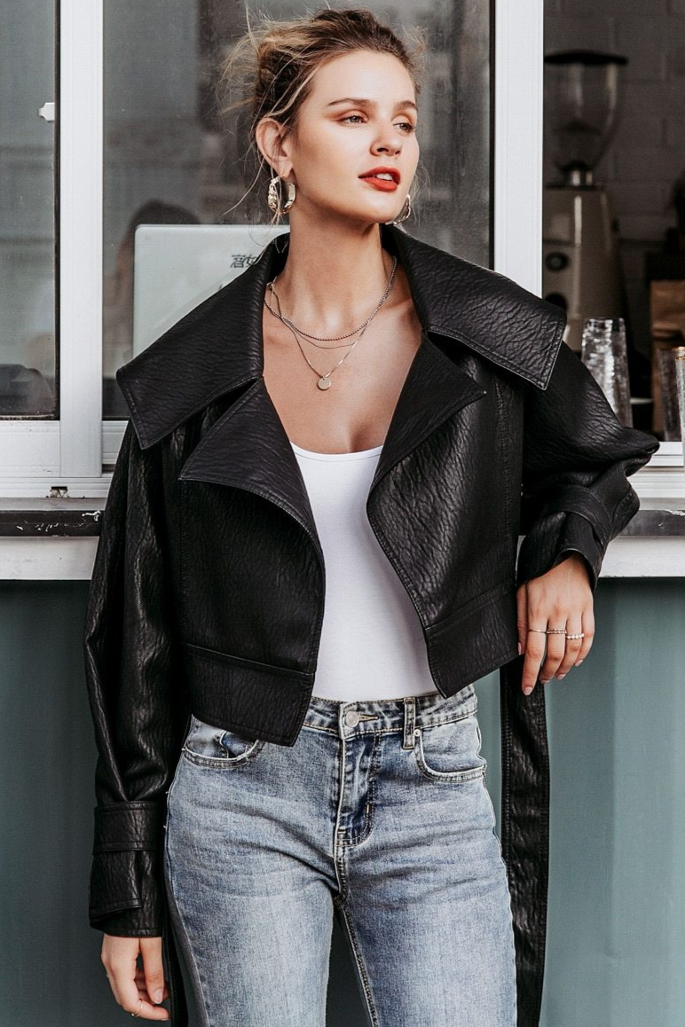 Faux Leather Flap Collar Jacket
