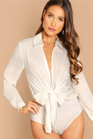 Plunge Sash Office Bodysuit