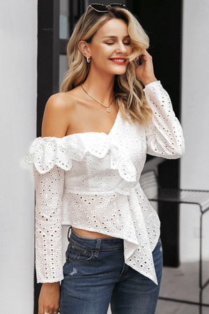 Ruffle Embroider One Shoulder Asymmetric Top