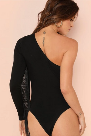 One Shoulder Fringe Sleeve Bodysuit