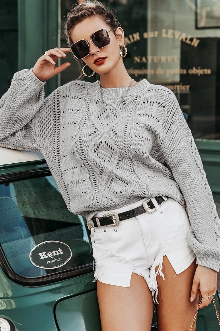 Geometric Open-knit Pullover Sweater