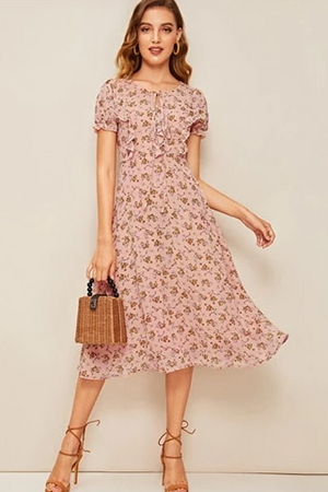Ditsy Floral Print Boho Midi Dress