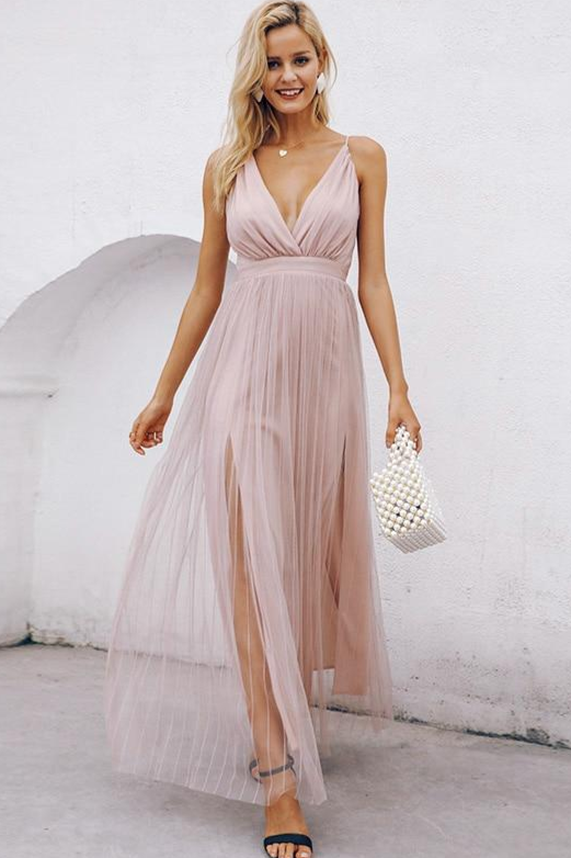 Deep-V Mesh Criss-Cross Back Maxi Dress