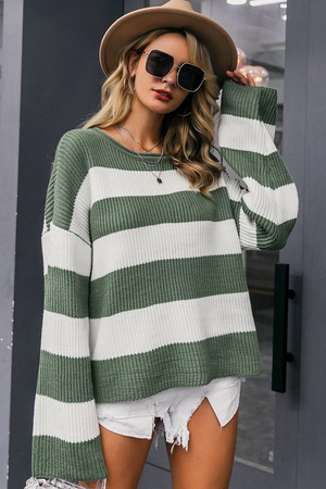 Striped Flat-Knit O-Neck Sweater
