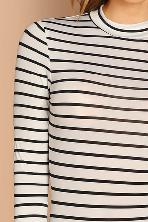 casualBasic Stripe Mock Bodysuit