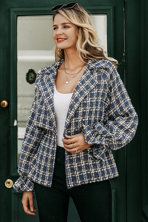 Plaid Lantern Sleeve Tweed Jacket