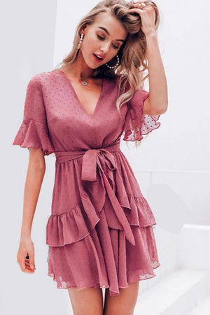Dot Clip Ruffle Mesh Dress