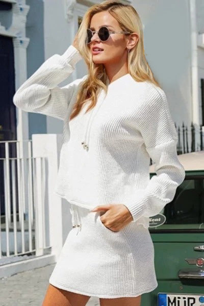 Two-Piece Knitted Lace-Up Suit Dress