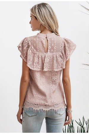 Hollow Out Lace O-neckline Top