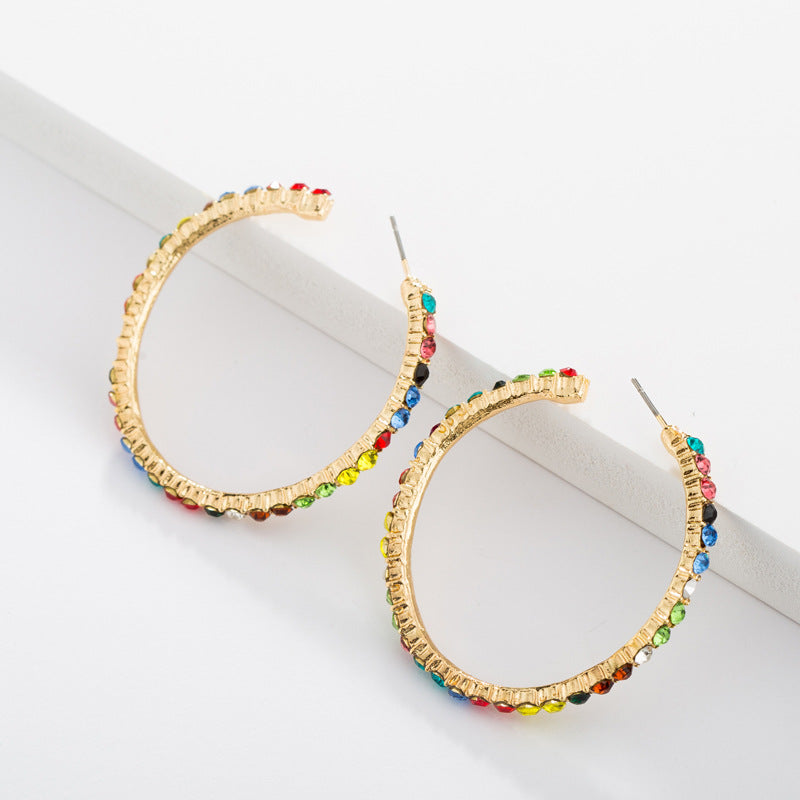 Multi-Color Crystal Stones Hoop Earrings