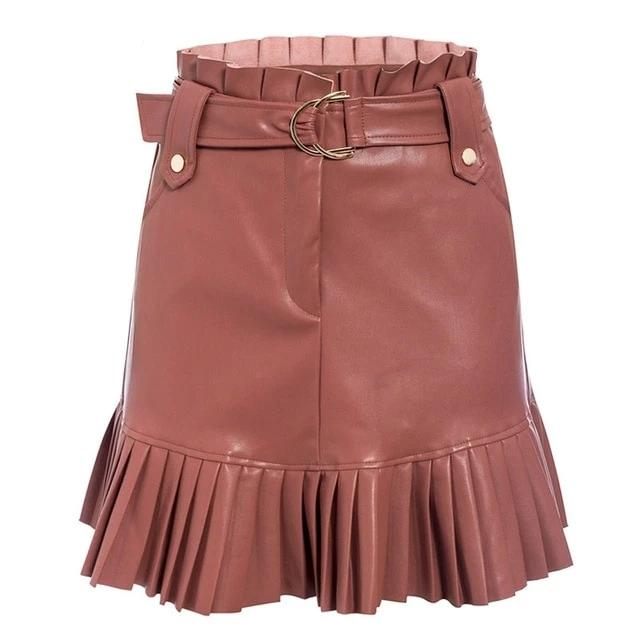 Faux Leather Pleated Shorts